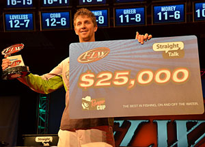 Chad Pipkens with his FLW Tour Beaver Lake Victory Trophy and Check