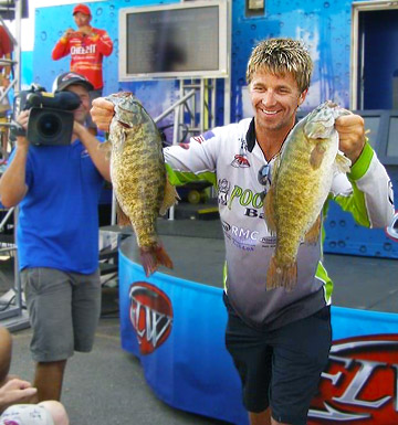 Chad Pipkens shows off 2 big Lake Erie smallmouth bass during the 2012 Bassmaster Northern Open
