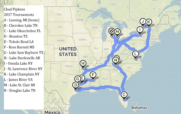 Chad Pipkens 2017 Bass Tournaments Mapped Out