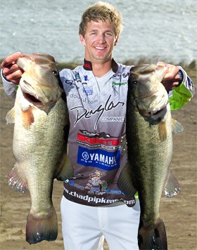 Chad Pipkens with 2 Falcon Lake giant bass