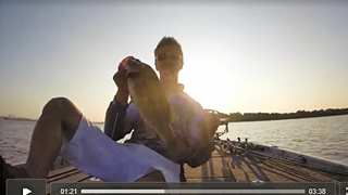 A fist pump from Chad Pipkens for his first good Delaware River bass early on day 1 of the Bassmaster Elite Series tournament August 7, 2014. Taken from a GoPro video screenshot.