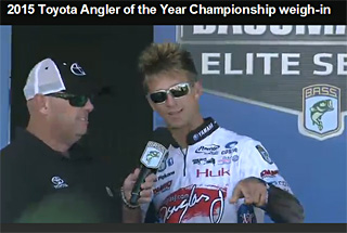 Elite Angler Chad Pipkens talks with Bassmaster emcee Dave Mercer on stage during day 2 of the Toyota Bassmaster AOY Championship tournament. Pip is in 3rd place and 29th place in AOY points!