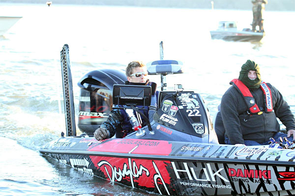 Chad Pipkens prepares for blast off during the 2016 Bassmaster Classic in his Douglas J wrapped Skeeter Bass Boat.