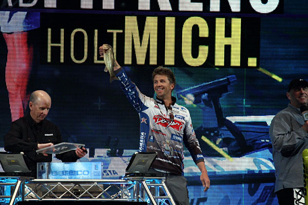 Chad Pipkens shows off a Grand Lake Classic bass during the 2016 Bassmaster Classic weigh in!