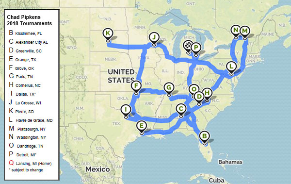2018 Chad Pipkens Bass Tournaments Mapped Out