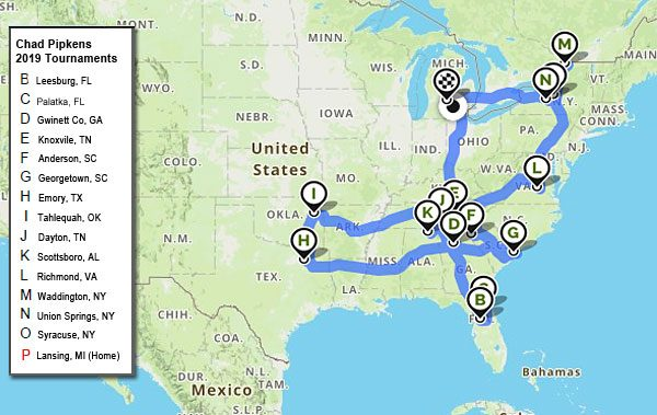 Chad Pipkens 2019 bass tournaments travel mapped out
