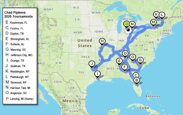 Chad Pipkens 2020 bass tournaments travel mapped out