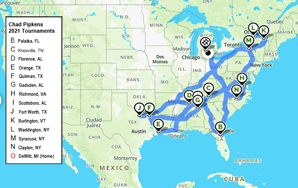 Chad Pipkens 2021 bass tournaments travel mapped out (Elite Series & Northern Opens)